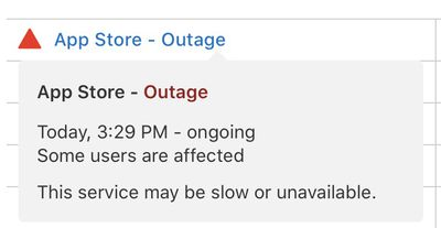 apple app store outage