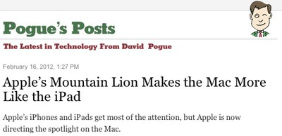 pogue nyt mountain lion
