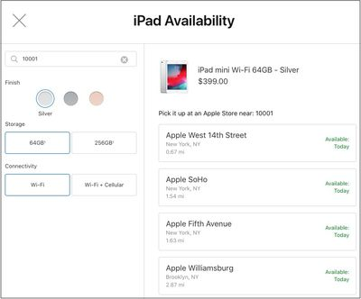ipad mini 5 apple store pickup