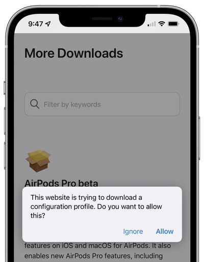 airpods firmware configuration profile