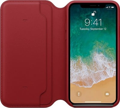iphone x leather folio product red