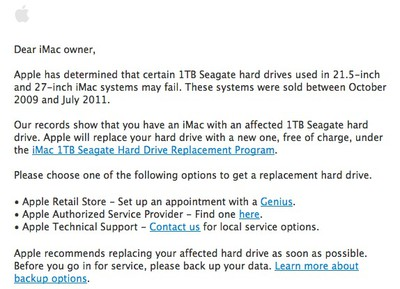 imac seagate drive recall email