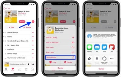 how to share songs albums in apple music