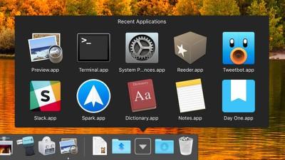 macos dock recent apps stack