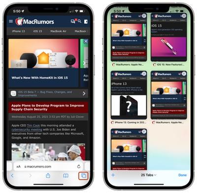 iOS 15 Safari tab tiles
