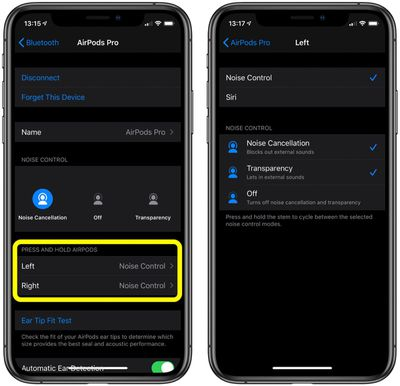 AirPods Pro gesture settings