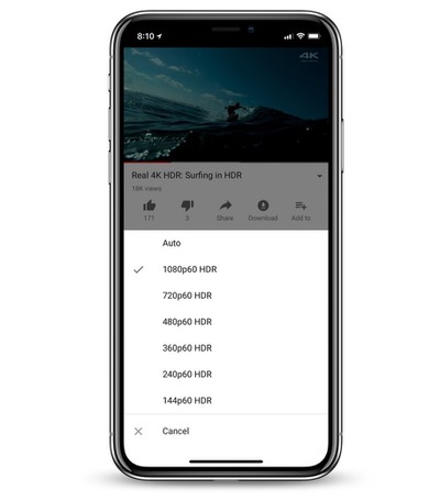 youtube hdr ios app