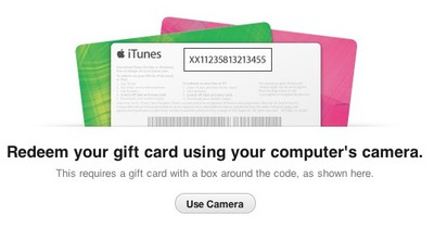 itunes 11 gift card camera