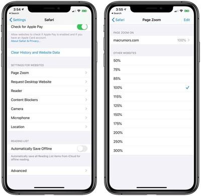 safari website settings in iOS 13