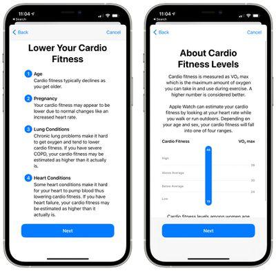 cardio fitness level details