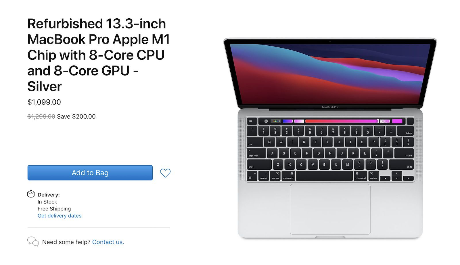 photo of Apple Begins Selling Refurbished 13-Inch MacBook Pro With M1 Chip image