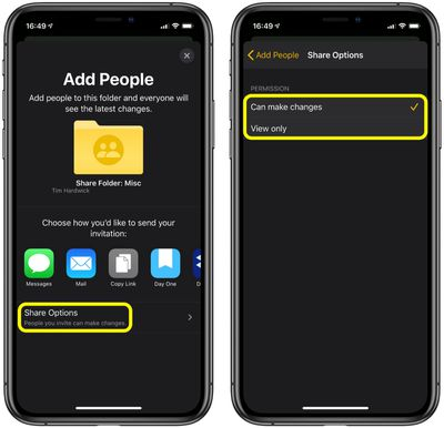 how to share folder notes ios 1