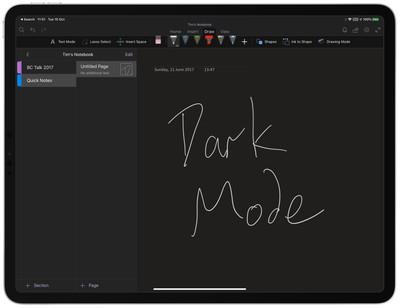 onenote dark mode ipad