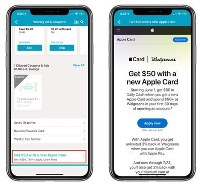 walgreens apple card 50 bonus