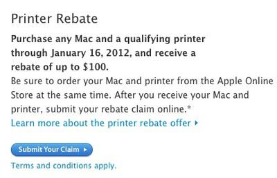apple printer rebate jan 16
