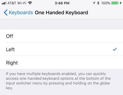 one hand keyboard settings