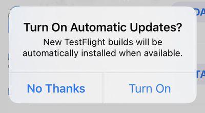testflight automatic update