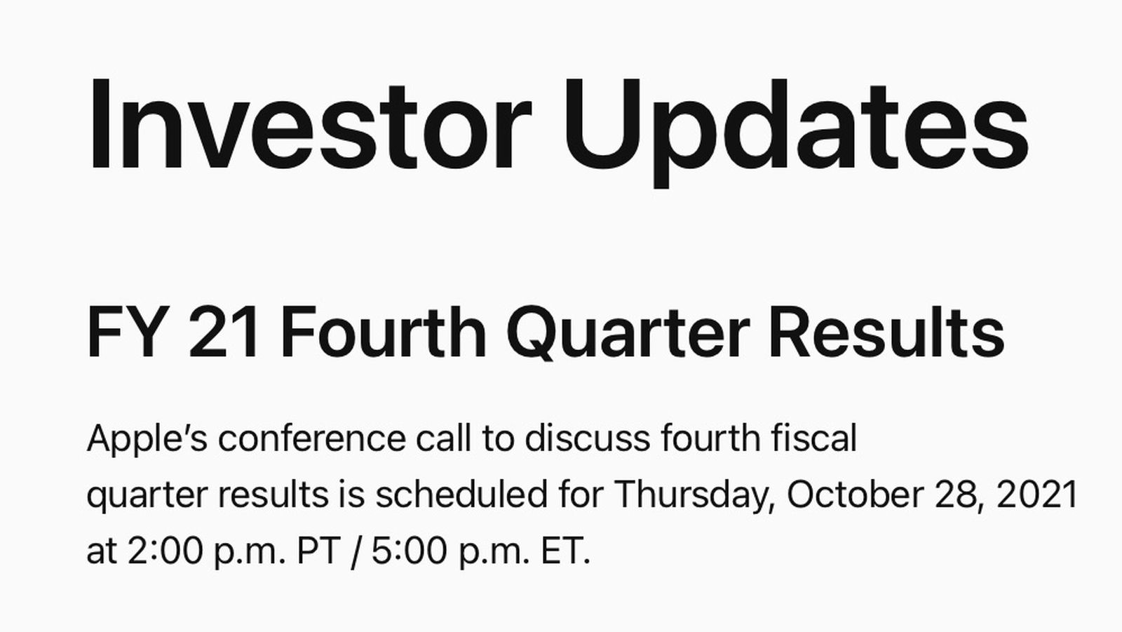 photo of Apple to Announce Q4 2021 Earnings on October 28 image