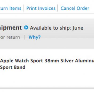 June Apple Watch Preparing for Shipment