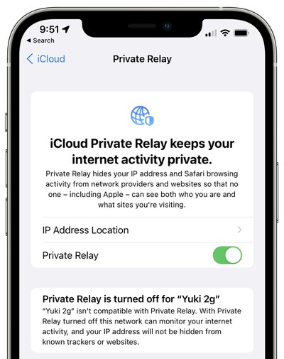 icloud private delay disabled warning ios 15