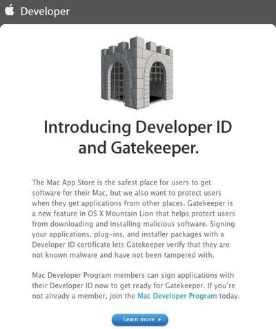 developer id gatekeeper email