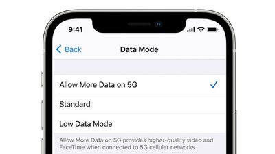 iphone 12 5g cellular data modes