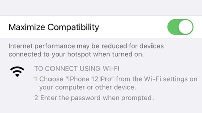 iphone 12 personal hotspot 5ghz