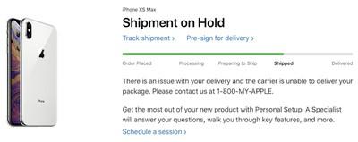 shipment on hold
