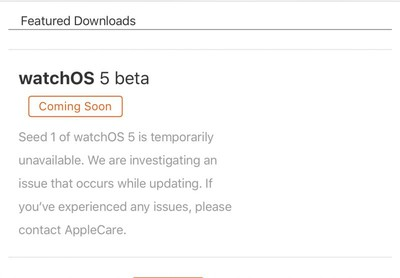 watchos 5 beta 1 pulled