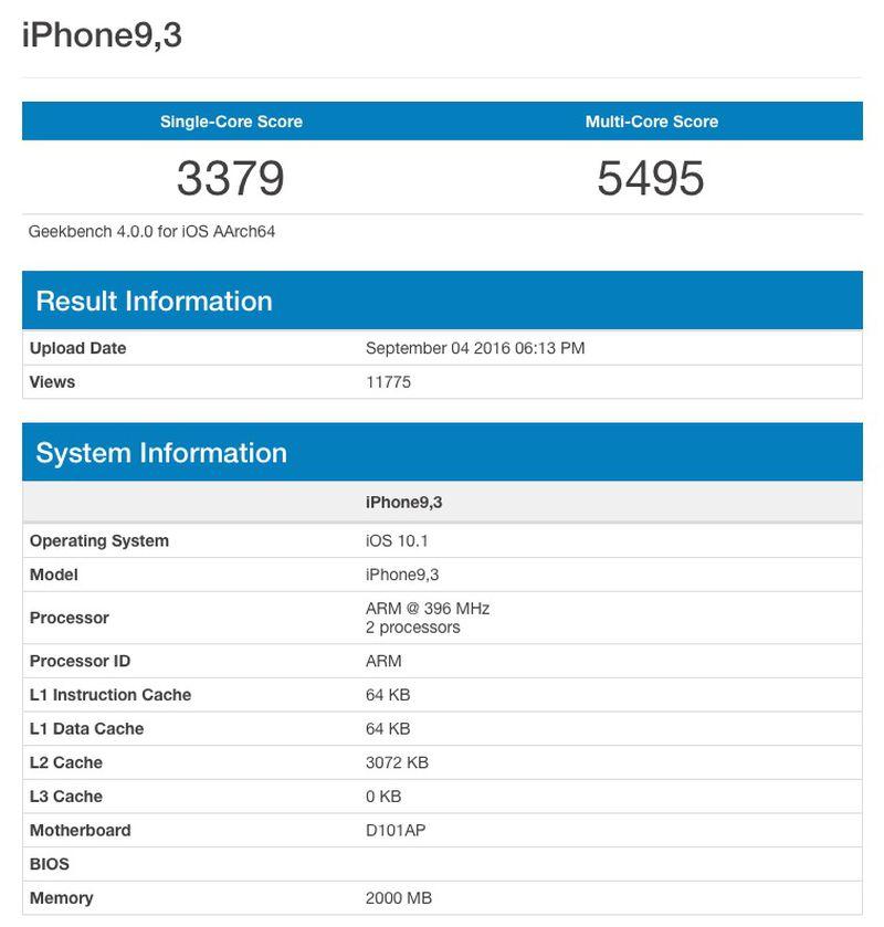 Geek bench iPhone 7