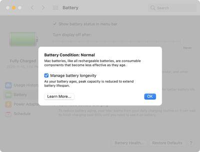 apple battery health management big sur intel