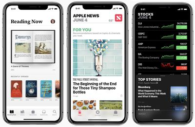 iOS 12 books news stocks