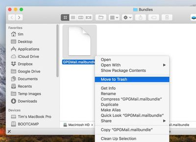 delete mailbundle gpg