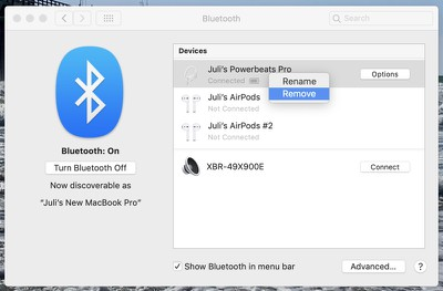 disconnecting Powerbeats Pro from Mac
