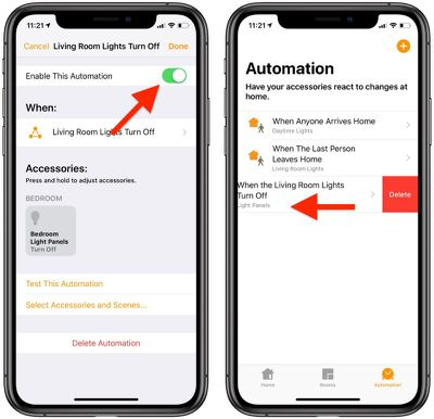 disable or delete homekit automations