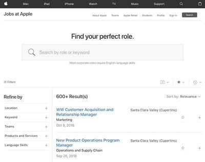 jobs apple search
