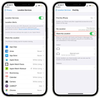 find my location services toggle settings app