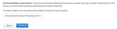 account deletion reason