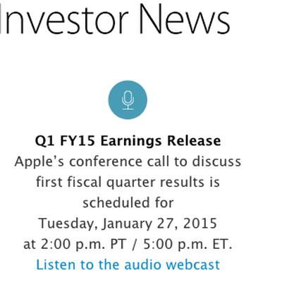 apple investor news q12015