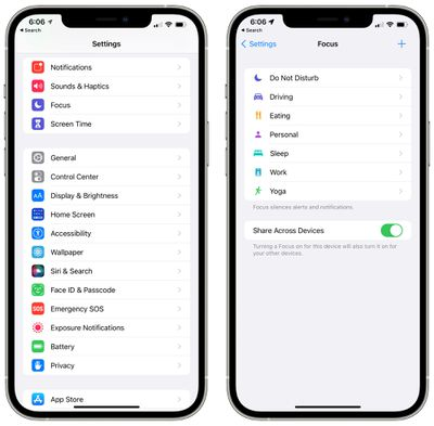 ios 15 focus settings app
