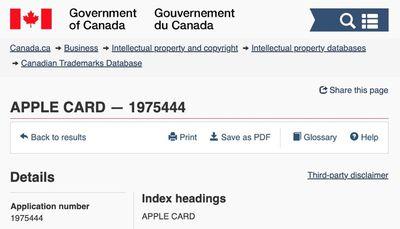 apple card trademark canada