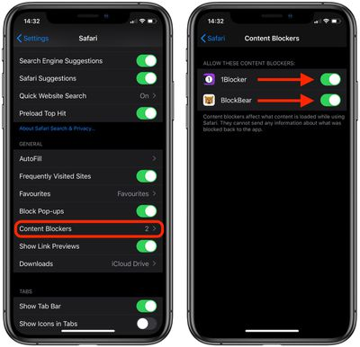 how to enable content blockers safari ios 1