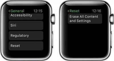 Apple Watch Erase All Settings