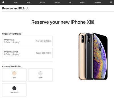 iphone xs reserve pickup