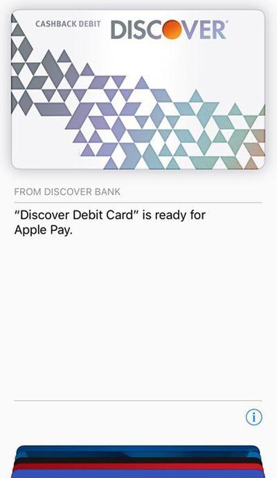 discover debit apple pay