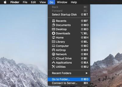 go to folder menu bar