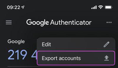 authenticator export accounts