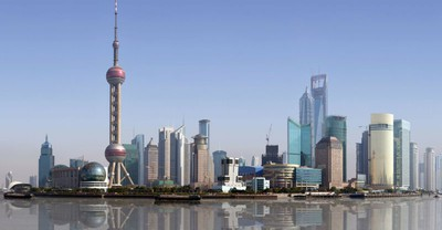 china shanghai skyline fluss