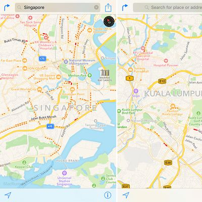 apple maps traffic singapore malaysia