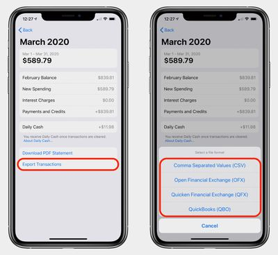 apple card export how to